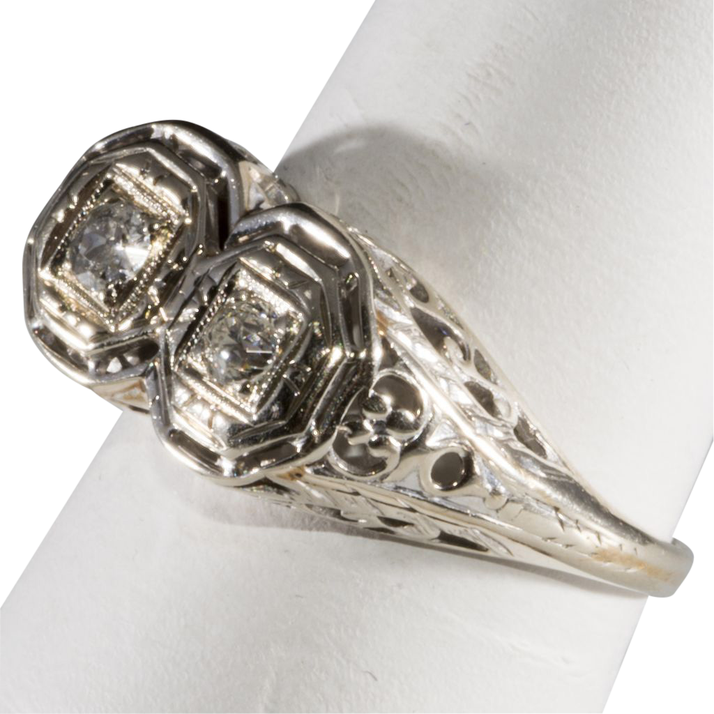 14k white gold filigree deco ring tag