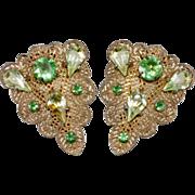 1920s Green Rhinestone & Filigree Dress Clips Brooch Pair
