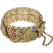 1930s Hinged Bangle Filigree Bracelet Multicolor Rhinestones