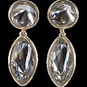 1950s Clear Dangle Rhinestone Earrings