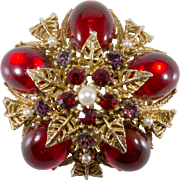 ART Signed Domed Red Rhinestone Brooch Pin Vintage