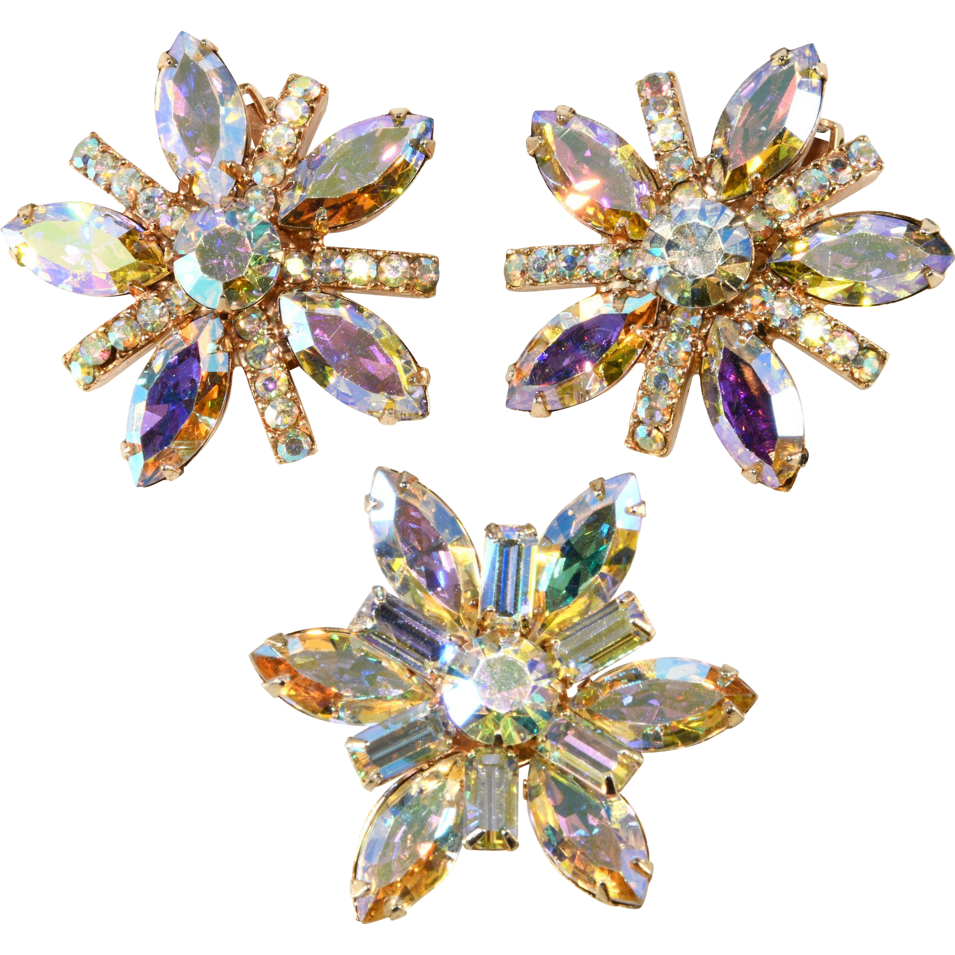 3 Piece Set Brooch and Earrings Aurora Borealis Iridescent Rhinestones