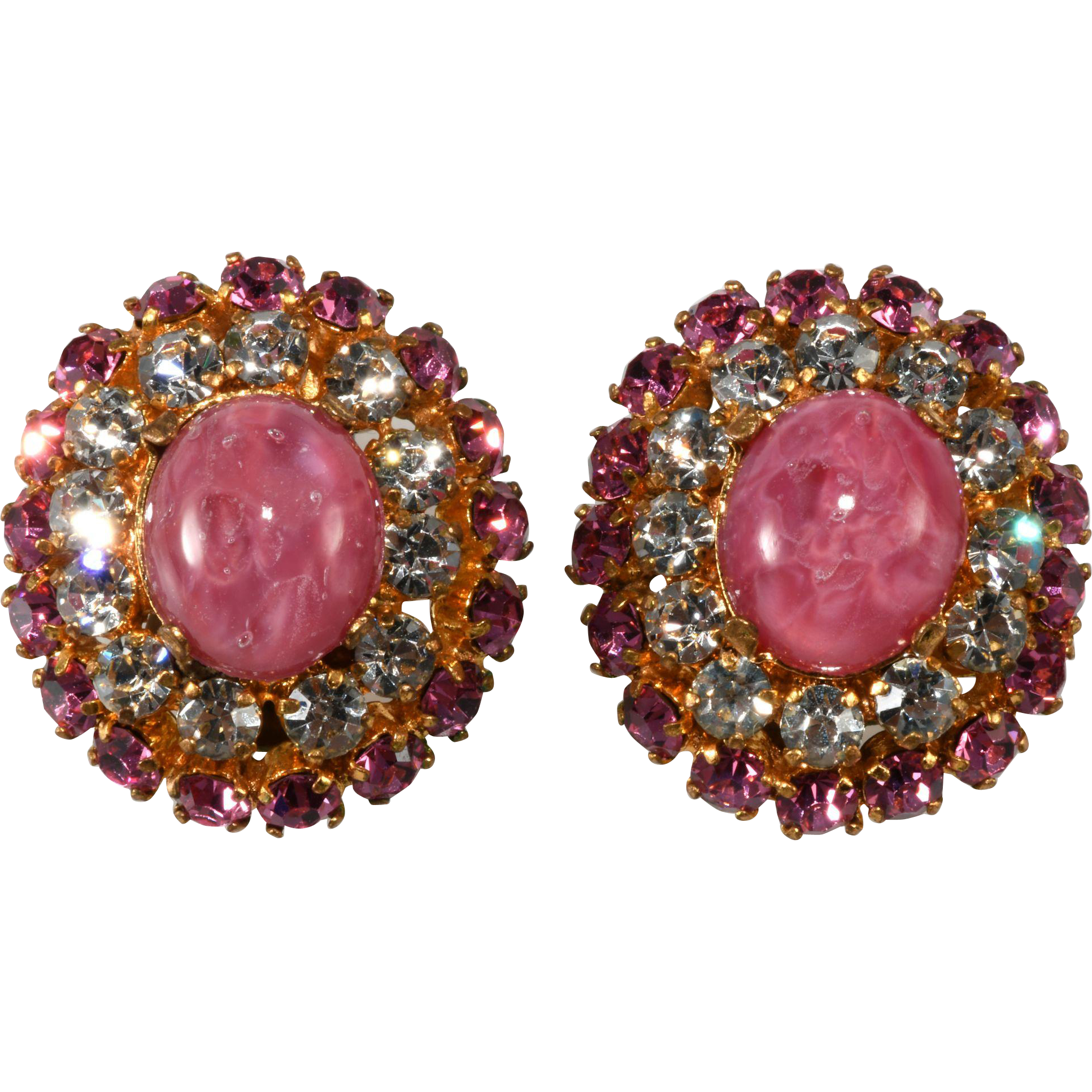Austrian Pink and Clear Rhinestone Earrings