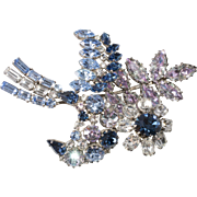 Made in Austria Blue Rhinestone Spray Brooch Pin