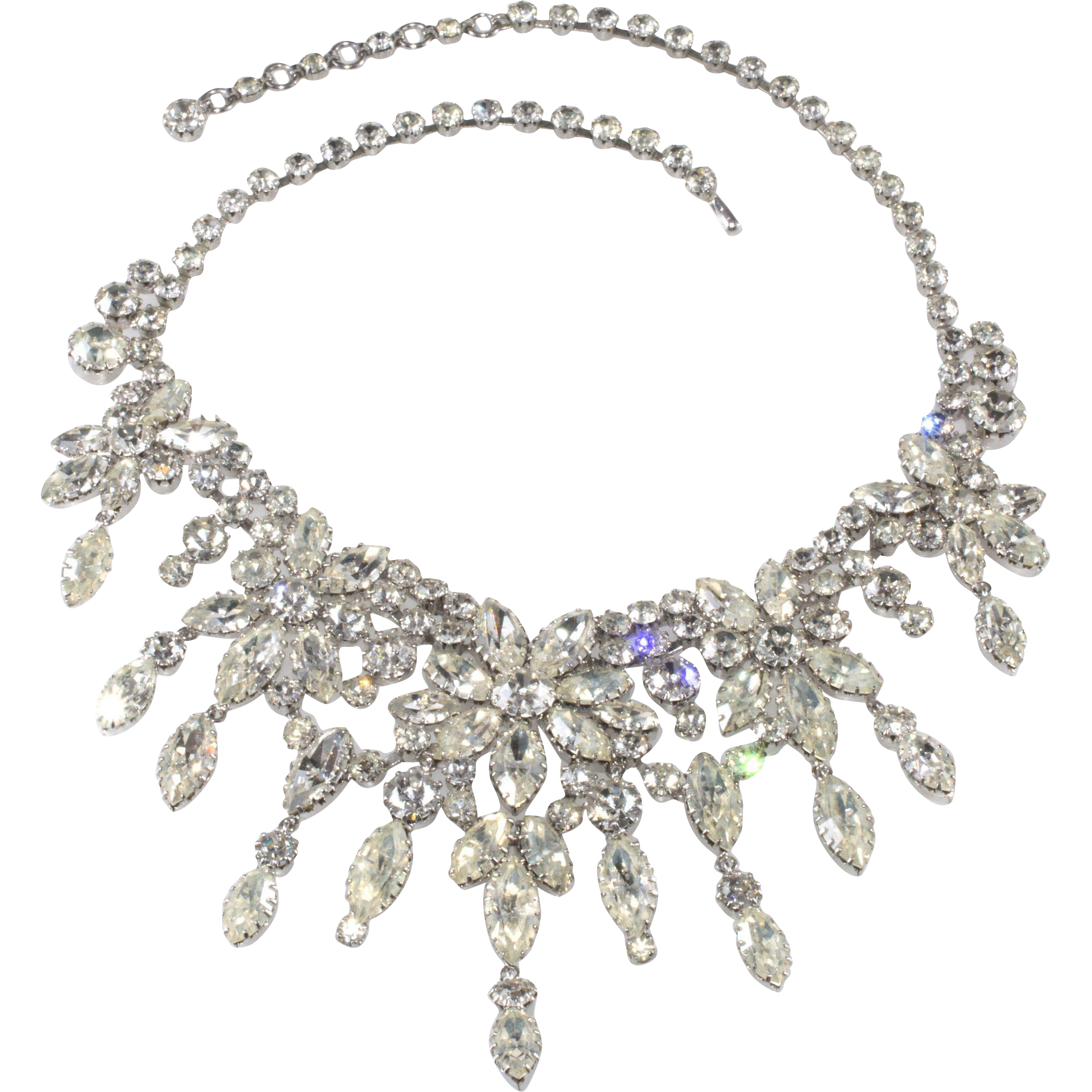 Austrian Clear Rhinestone Bib Necklace 1950s Vintage