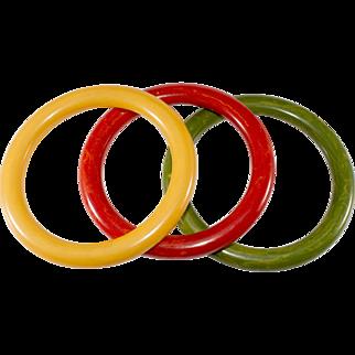 Bakelite Bangles Set Orange Yellow Green Marbled Bracelets