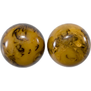 Bakelite Large Domed Marbled Earrings