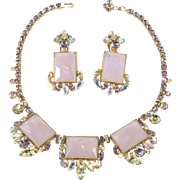 1950s Necklace Earrings Set Purple Yellow Rhinestones by Ballet
