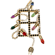 Dorothy Bauer Christmas Lights on Window Brooch Pin