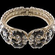 Clamper Bracelet with Black and Clear Rhinestones 1960s Vintage