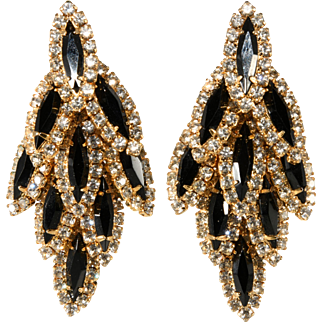 Black and Clear Rhinestone Waterfall Dangle Earrings