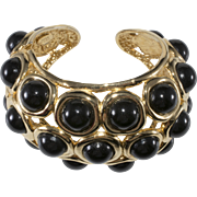 KJL Style Black Gold Hinged Cuff Statement Bracelet