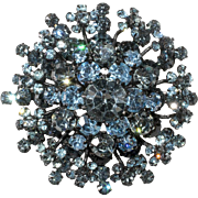 1950s Blue Rhinestone Brooch Marked Austria