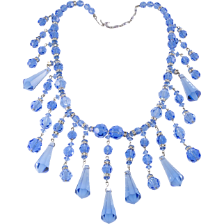 Bright Blue Glass Dangle Bead Rhinestone Bib Necklace
