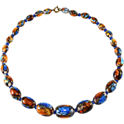 Venetian Glass Bead Necklace Blue and Gold Vintage