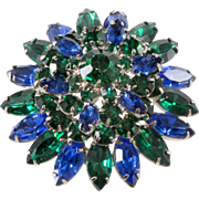 Blue Green Rhinestones Layered Flower Brooch Pin Vintage