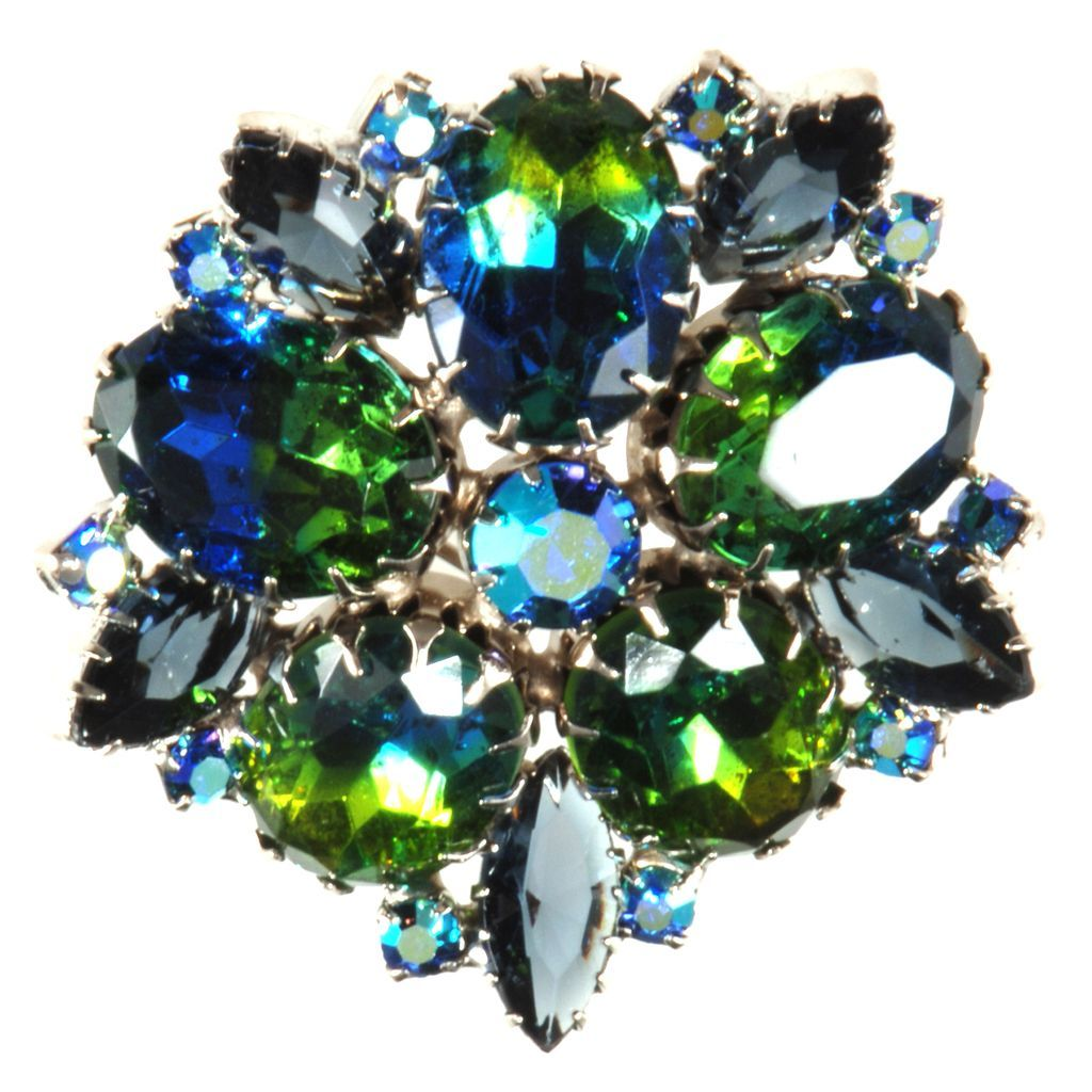 Blue & Green Bi-Color Rhinestone Brooch Pin