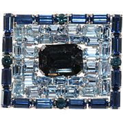 Blue Rhinestones Picture Frame Brooch Pin 1950s Vintage