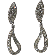 Bogoff Clear Rhinestone Dangle Paisley Earrings Vintage
