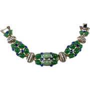 Boucher Faux Jade Cabochon and Blue Rhinestone Bracelet