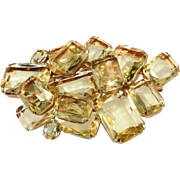 Brania LARGE Pale Yellow Rhinestone Brooch Pin 1960s Vintage