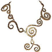 CHANEL Asymetric Swirling Gold Plated Necklace 1970s