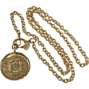 CHANEL 1980s Rue Cambon Paris Medallion Necklace