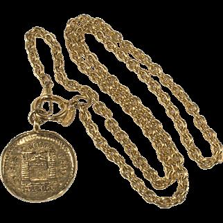 CHANEL 1980s Rue Cambon Paris Medallion Necklace
