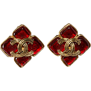 CHANEL Red Gripoix Glass CC Earrings