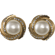 CHANEL Faux Pearl Rhinestone Swirl Earrings c. 1980
