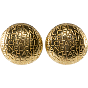 LAYAWAY - CHANEL Lettering Domed Gold Plated Earrings