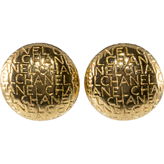 CHANEL Lettering Domed Gold Plated Earrings