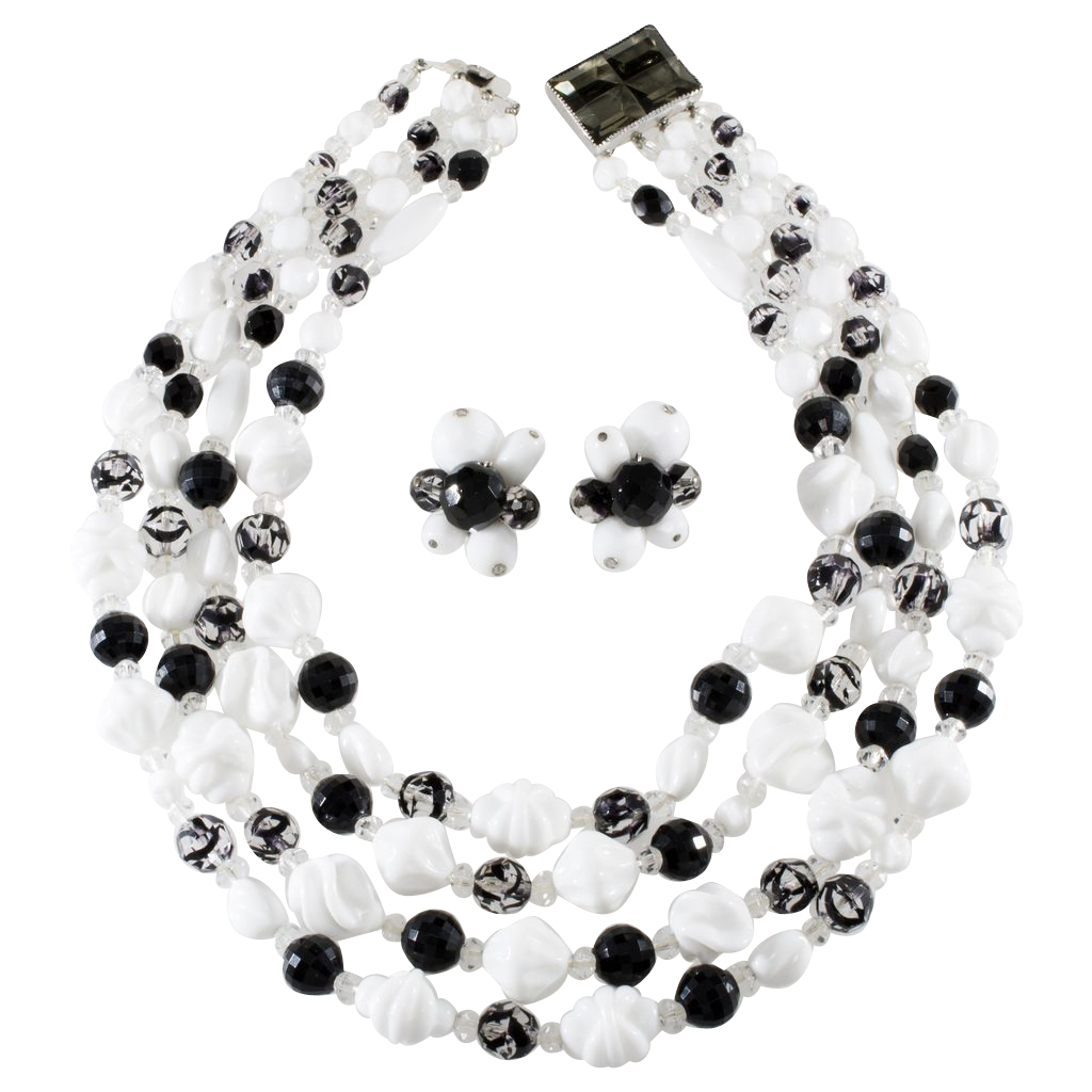 Hattie Carnegie Black & White Necklace Earrings Set