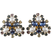 Hattie Carnegie Blue Rhinestone Faux Pearl Earrings Vintage