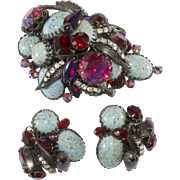 Hattie Carnegie Faux Turquoise Dragon's Breath Rhinestone Brooch Earrings Set