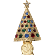 Hattie Carnegie Rhinestone Christmas Tree Pin