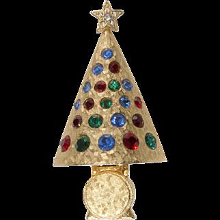 Hattie Carnegie Rhinestone Christmas Tree Pin