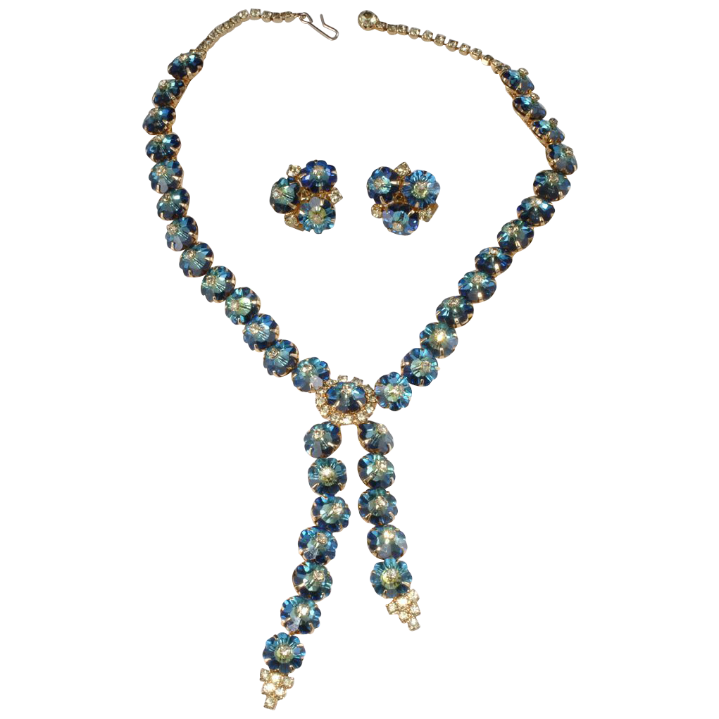 Castlecliff Blue Margarita Rhinestone Necklace & Earrings Set