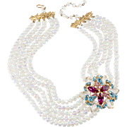 Castlecliff Opalescent Bead Necklace with Rhinestone Embellishment