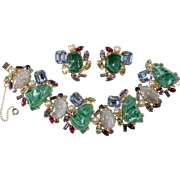 Alice Caviness Emerald Green Multi-Color Rhinestone Bracelet Earrings Set