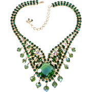 Designer Green & Iridescent Rhinestone Statement Necklace