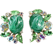 Alice Caviness Emerald Green Mottled Cabochon Rhinestone Earrings
