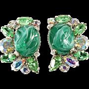 Alice Caviness Emerald Green Mottled Cabochon Rhinestone Earrings
