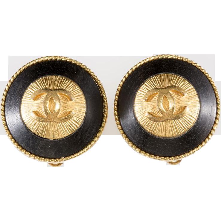 CHANEL CC Logo Black & Gold Earrings