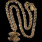 CHANEL CC Logo Pendant Necklace 1980s