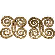 CHANEL Curl Gold Plated CC Earrings 1970s