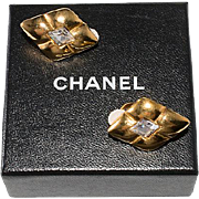 Chanel Quilted Diamond-Shaped Rhinestone Earrings