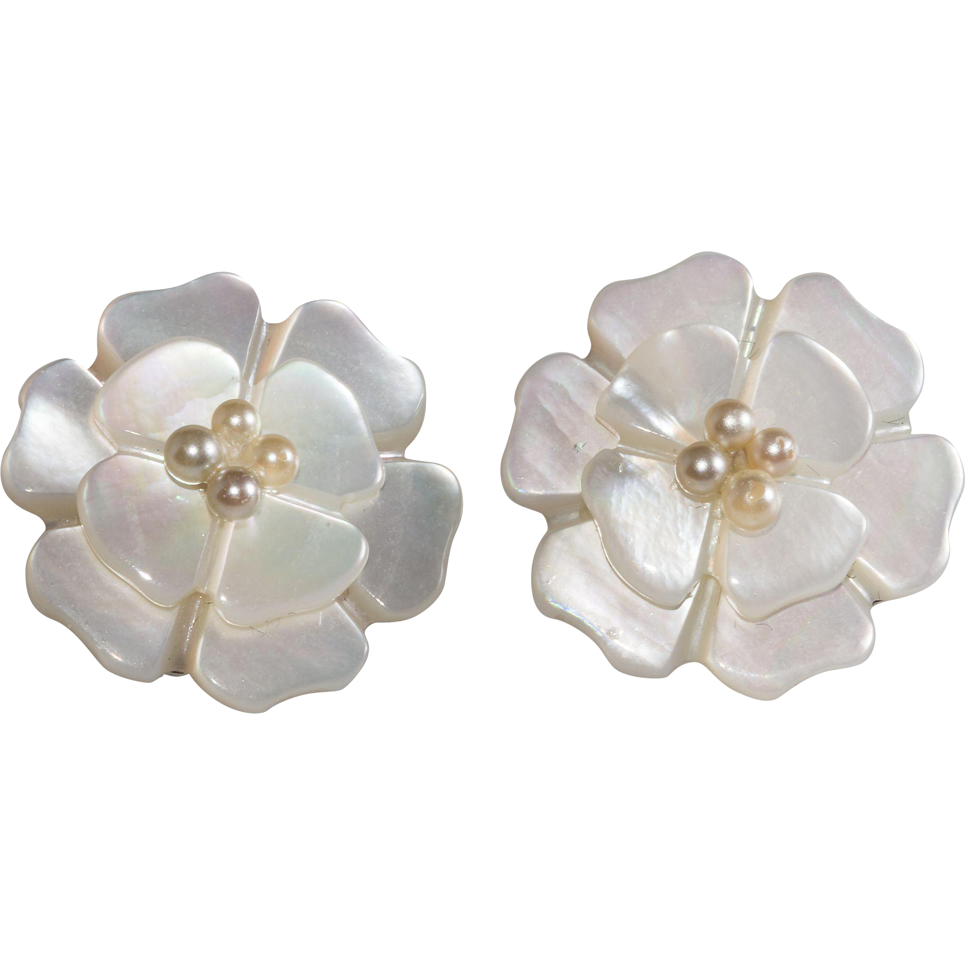 Chanel Mother Of Pearl Camellia Flower Petite Earrings