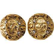 CHANEL Round CC Logo Earrings with Rhinestones