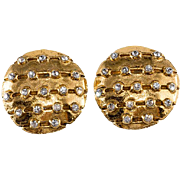 CHANEL Round Rhinestone Earrings 1970s Vintage